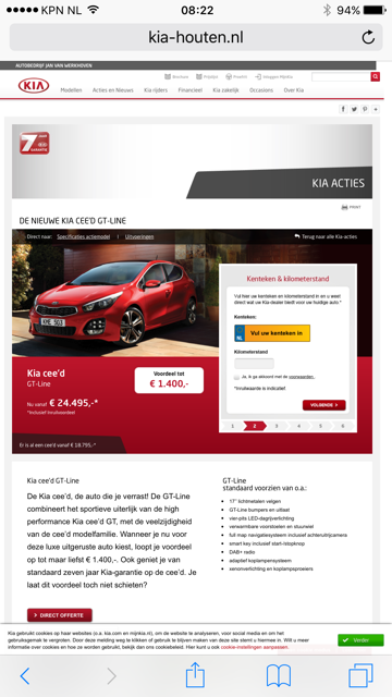 Kia mobiele website