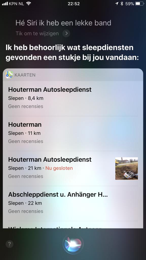 Autodealers zoeken via Siri